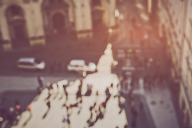 Blurred City Street with people and traffic applying Retro Instagram Style Filter